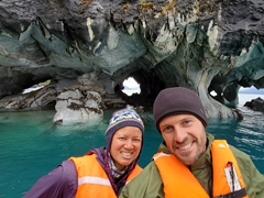Posing at the amazing marble caves of Puerto Rio Tranquilo