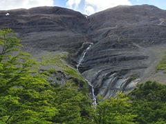 Waterfall; Torres del Paine hike