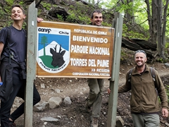 Tom, Ivan and Robby at the Torres del Paine welcome sign