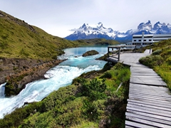 The Hotel Explora Patagonia offers a commanding view of Salto Chico waterfall