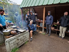 Our Oasis family prepares a Thanksgiving feast; Lago Pehoe Camping