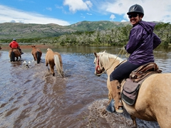 Our horses don't hesitate to cross this river; Torres del Paine