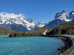 Gorgeous weather on our drive out of Torres del Paine National Park
