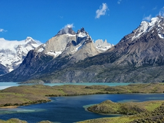 Torres del Paine looks spectacular on a sunny day