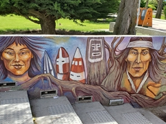 Painted mural in the main square; Puerto Natales