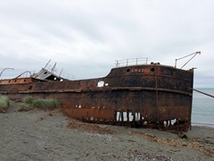Beached wreck of the steamship Amadeo; San Gregorio