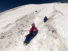 So much fun sliding down the luge like tunnels built of packed snow to the base of Villarrica