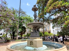 Water fountain in the main square; Salta