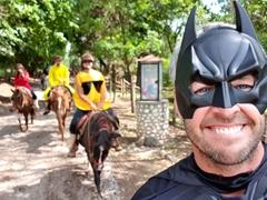 Batman and Happy Face go horseback riding; Sayta Ranch