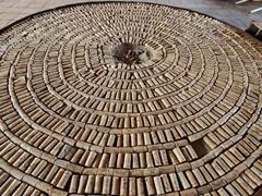 Tabletop made of corks; Bodega Nanni in Cafayate