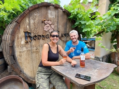 Drinking rose at Bodega Nanni; Cafayate