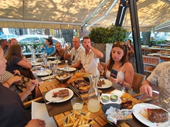 Eating sirloin steaks at La Lucia Restaurant; Mendoza