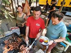 Helping Danny grill asado; Mendoza