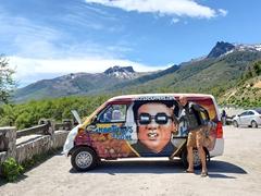 Jason posing by a North Korea wicked campervan; Bariloche