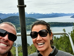 Riding the Cerro Campanario chairlift up to the top of the mountain for a spectacular view over Bariloche