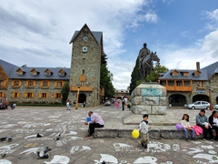 General Roca monument in the main plaza; Bariloche
