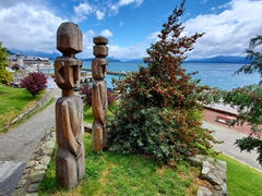 Wooden statues near the waterfront; Bariloche