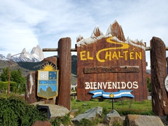 Welcome sign to El Chalten at the village entrance