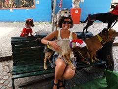 Posing with rescued street dogs; Caminito