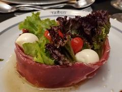 Prosciutto appetizer; Tango show