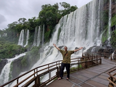 Robby marveling at the sheer size and scale of the waterfalls; Iguazu