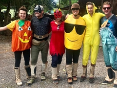 Happy Halloween! Cam, Robby, Rebeca, Becky, Tom and Danny at Sayta Ranch