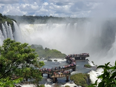 Tourists line up to view Iguaçu Falls; the largest waterfall in the world; Foz do Iguaçu