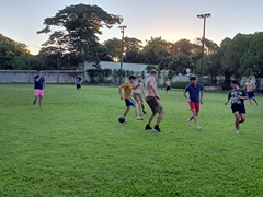 Team Oasis playing football with the locals; Paudimar Cataratas Hotel in Foz do Iguaçu