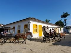 Horse carriages are a popular way to sightsee Paraty