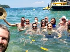 Enjoying a day trip on an island hopping boat; Paraty