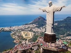 Massive tourist poster of Christ the Redeemer statue