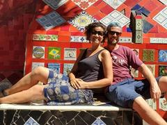 Striking a pose at Selaron Steps; Rio