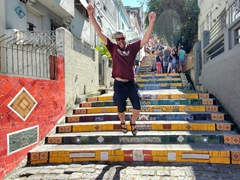 Robby jumping at Escadaria Selarón, a ceramic labor of love by Chilean-born artist Jorge Selarón
