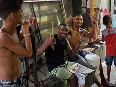 Friendly musicians about to perform on our favela tour