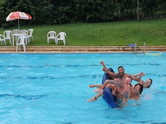 Trying our best to stay afloat during a pool party; Camping Club Quinta da Barra in Teresopolis