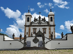 The famous Sanctuary of Bom Jesus do Congonhas with statues of the prophets