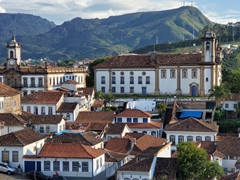 Our first view of the colonial town of Ouro Preto nestled in the mountains of eastern Brazil