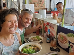 Enjoying delicious pho from Cayenne's sizable Vietnamese population