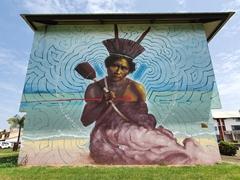Massive building mural; Kourou