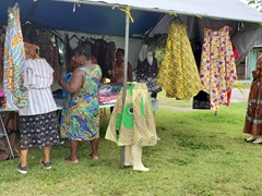Skirts and dresses for sale; Iracoubou village