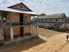 Transportation camp, where prisoners arrived for processing. It was the largest prison in French Guiana; Saint-Laurent-du-Maroni