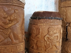 Drum carvings; Saint-Laurent-du-Maroni