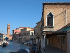 Another view of Fondamenta dei Vetrai with the 19th century clock tower of Campo Santo Stefano in the distance