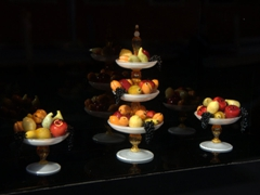 Intricate glass work! Close up of glass fruit ranging from 1 to 3 inches in height; Murano