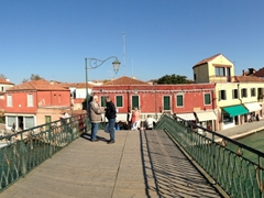 Panoramic view of Murano's Grand Canal and Vivarini Bridge (1866). This is the widest canal in Murano and divides the island in two parts