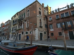 Early morning view of a Grand Canal mansion; Venice