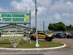 The once a day Guyana to Suriname ferry service; Moleson Creek