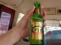 Our van driver bought us all GT Genuine Lager Beer to celebrate our arrival to Guyana