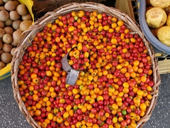 Longan, Barbados cherries and passionfruit for sale; Bourda Market