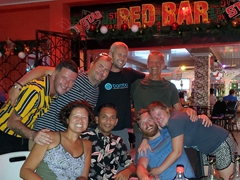 Enjoying drinks at the Red Bar